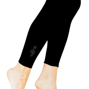 Black w Crystal G Clef Music Note Footless Tights